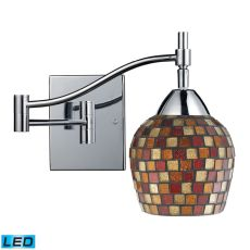 Celina 1 Light Led Swingarm Sconce In Polished Chrome And Multi Fusion Glass