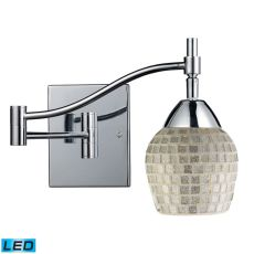 Celina 1 Light Led Swingarm Sconce In Polished Chrome And Silver Glass