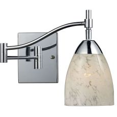 Celina 1 Light Swingarm Wall Sconce In Polished Chrome And Snow White