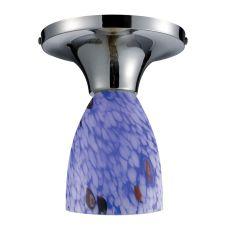 Celina 1 Light Semi Flush In Polished Chrome And Starburst Blue Glass