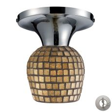 Celina 1 Light Semi Flush In Polished Chrome And Gold Leaf Glass - Includes Recessed Lighting Kit