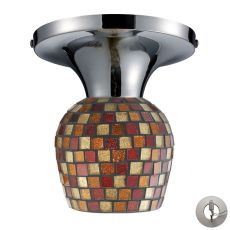 Celina 1 Light Semi Flush In Polished Chrome And Multi Fusion Glass - Includes Recessed Lighting Kit