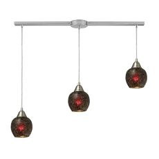 Fission 3 Light Pendant In Satin Nickel And Wine Glass