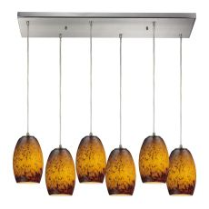 Maui 6 Led Light Pendant In Satin Nickel And Sunset Glass