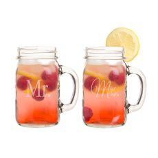 16 Oz. Mr. & Mrs. Old Fashioned Drinking Jar Set