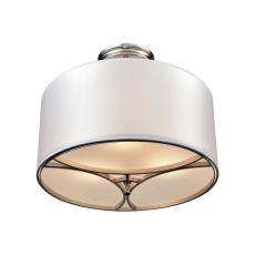 Pembroke 3 Light Semi Flush In Polished Nickel With A Light Silver Fabric Shade