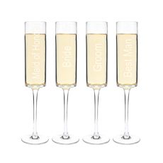8 Oz. Wedding Party Contemporary Champagne Flutes (Set Of 4)