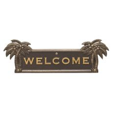Palm Tree Welcome Plaque, Bronze / Gold