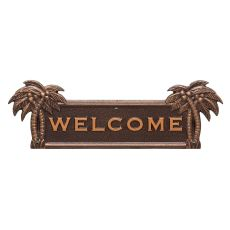 Palm Tree Welcome Plaque, Antique Copper