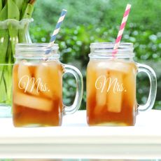 Mrs. & Mrs. Old Fashioned Drinking Jar Set