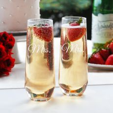 Mrs. & Mrs. Stemless Champagne Flutes
