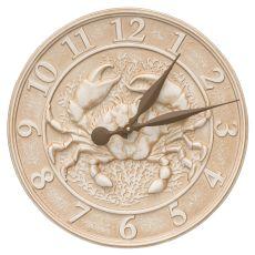 "16"" Crab Sealife Clock, Weathered Limestone"