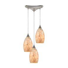 Capri 3 Led Light Pendant In Satin Nickel And Capiz Shell