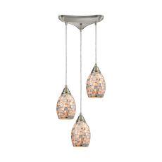 Capri 3 Led Light Pendant In Satin Nickel And Gray Capiz Shell