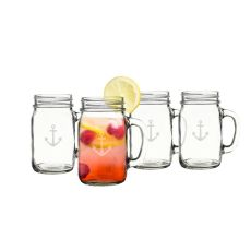 16 Oz. Anchor Old Fashioned Drinking Jars (Set Of 4)