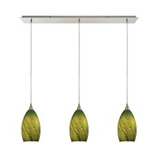 Earth 3 Led Light Pendant In Satin Nickel And Grass Green Glass