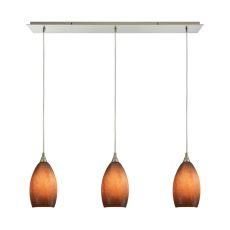 Earth 3 Led Light Pendant In Satin Nickel And Sand Glass
