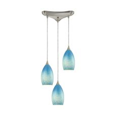 Earth 3 Led Light Pendant In Satin Nickel And Sky Blue Glass