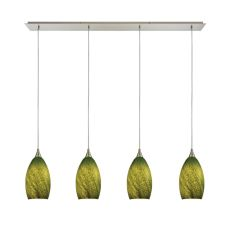 Earth 4 Led Light Pendant In Satin Nickel And Grass Green Glass