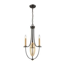 Dione 3 Light Chandelier In Oil Rubbed Bronze With Brushed Antique Brass Accents