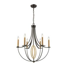 Dione 6 Light Chandelier In Oil Rubbed Bronze With Brushed Antique Brass Accents