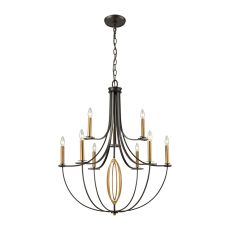 Dione 9 Light Chandelier In Oil Rubbed Bronze With Brushed Antique Brass Accents