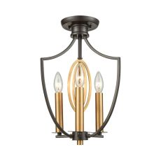 Dione 3 Light Semi Flush In Oil Rubbed Bronze With Brushed Antique Brass Accents