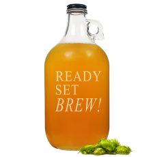 64 Oz. Ready Set Brew! Glass Growler