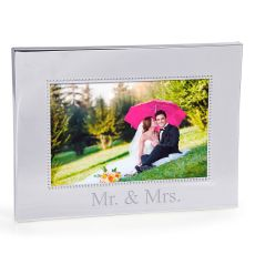 Mr. & Mrs. Beaded Silver Frame