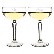 8.25 Oz. Mr. & Mrs. Champagne Coupe Flutes