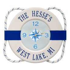 Personalized Life Ring Clock, White / Navy