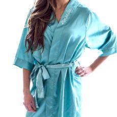 Aqua Satin Robe (S - M)