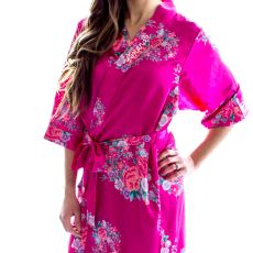 Pink Floral Satin Robe (S - M)