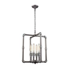 Cast Iron Pipe 4 Light Chandelier In Weathered Zinc With Zinc Highlights