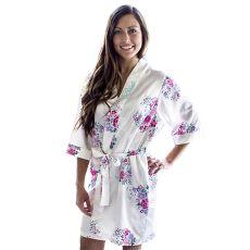 Bride Floral White Satin Robe (1Xl - 2Xl)