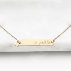 """Be{You}Tiful"" Gold Horizontal Bar Necklace"