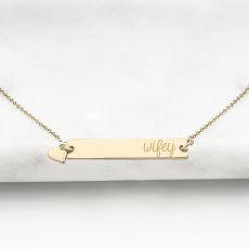 """Wifey"" Gold Horizontal Bar Necklace"