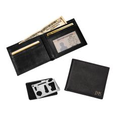 Personalized Black Rfid Bi-Fold Wallet With Multi-Function Tool