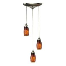 Milan 3 Light Pendant In Satin Nickel And Espresso Glass