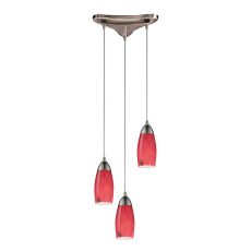 Milan 3 Light Pendant In Satin Nickel And Fire Red Glass