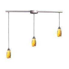 Milan 3 Light Pendant In Satin Nickel And Yellow Blaze Glass