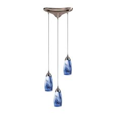 Milan 3 Light Pendant In Satin Nickel And Mountain Glass