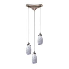Milan 3 Light Pendant In Satin Nickel And Snow White Glass