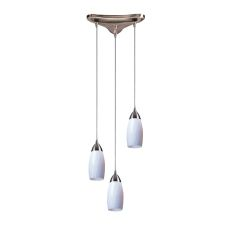 Milan 3 Light Pendant In Satin Nickel And Simply White Glass