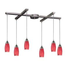 Milan 6 Light Pendant In Satin Nickel And Fire Red Glass