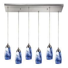 Milan 6 Light Pendant In Satin Nickel And Mountain Glass