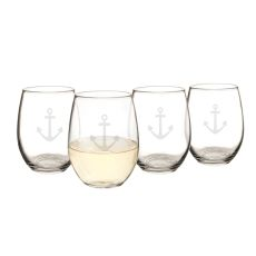 21 Oz. Stemless Anchor Wine Glasses (Set Of 4)