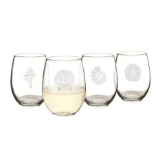 21 Oz. Seashell Stemless Wine Glasses
