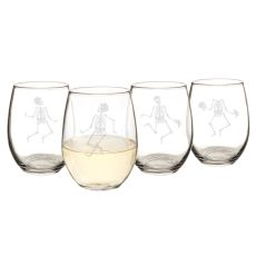 Dancing Skeletons 21 Oz. Stemless Wine Glasses (Set Of 4)