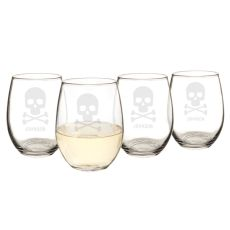 Personalized Skull + Crossbones 21 Oz. Stemless Wine Glasses (Set Of 4)